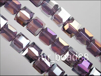 6mm Spacer Jewelry Findings 30pcs Violet AB Glass Crystal Faceted Cube Beads