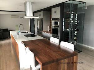 Table en bois sur mesure, comptoir en bois sur mesure, escalier sur mesure
