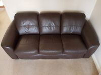 Beautiful peron chocolate 3 seater luxury murano leather sofa, very comfortable, reluctant sale