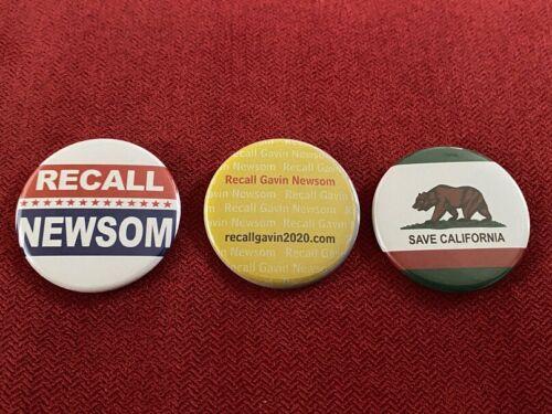 """Recall Gavin Newsom Save California 2020 - 3 x 1.75"""" pin-back buttons"""