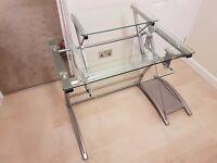 Glass and metal computer desk