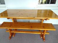 Large Pine Table with Matching Benches