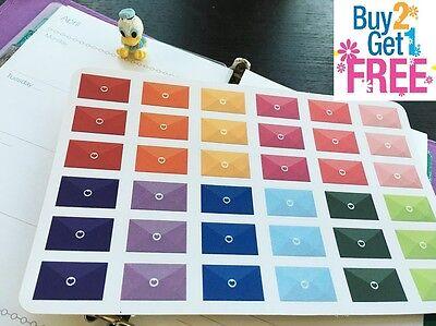 Pp031   Rainbow Happy Mail Life Planner Die Cut Stickers For Erin Condren 36Pcs