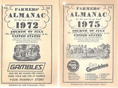 Farmers Almanac  2 Books 1972 And 1975