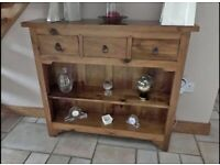 Solid oak hall unit table and matching mirror