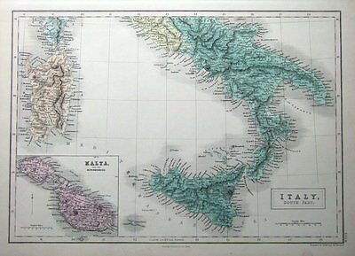 MALTA, S. ITALY, SARDINIA, SICILY,  A&C Black original antique map c1870