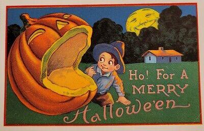 HALLOWEEN GIANT JACK-O-LANTERN & BOY HUMAN FACE FULL MOON Vintage REPRO Postcard