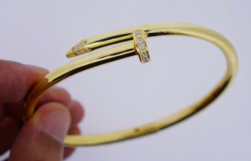 Unisex Twisted Nail Bracelet 10k Solid Gold 60 Grams 0.50 Carat Diamonds Video