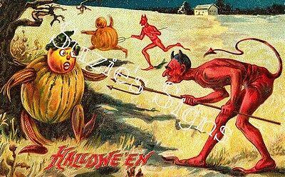 Vintage Halloween Material (Fabric Block Vintage Halloween Devil Warlock)