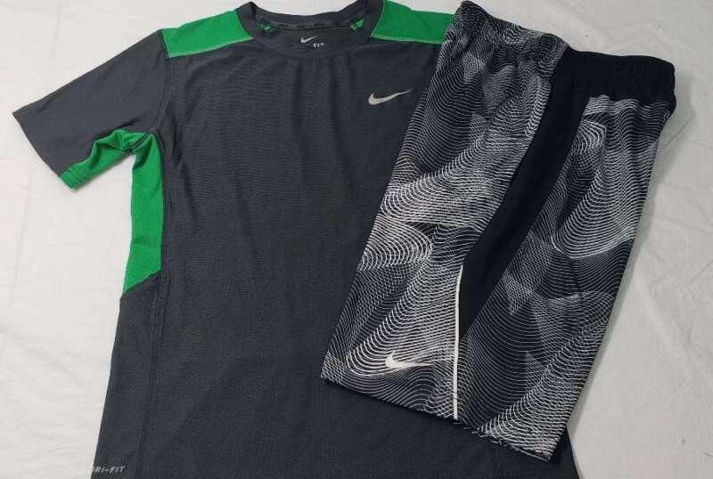 Nike Set Size Large L Shirt Shorts Drifit Gray Green Black White Stripe Boys
