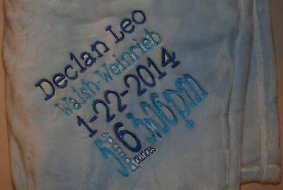 Embroidered Monogrammed Baby Blanket Tahoe Fleece Birth Announcement Keepsake (Monogram Announcement)