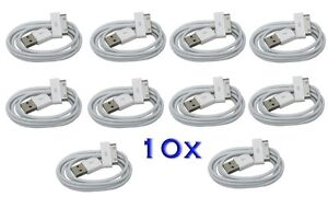 10x Lot USB Data Sync Charger Cable Cord for Apple iPad 1 2 iPhone 3G 4 4S iPod