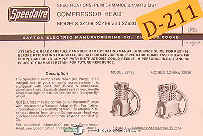Dayton 2z498 2z499 And 2z630 Compressor Head Specifiations And Parts Manual
