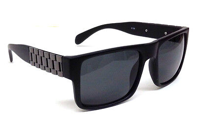 MATTE BLACK GUN METAL WATCH BAND SQUARE SUNGLASSES LINK CHAIN RETRO HIP HOP VTG ()