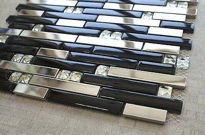 (Silver Stainless Steel Tile + Silver Glass Tile Diamond Shape+Black Glass Mosaic)