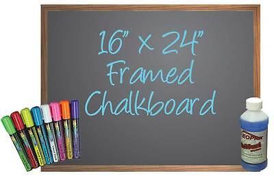 Black Chalkboard Framed 16 X 24 - 8 Liquid Chalk Markers Cleaner Sponge