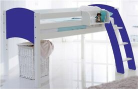 For Sale - Blue / Pine Single Mid Sleeper Cabin Bed