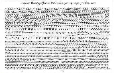 New Letterpress Type-12pt. Janson Italic