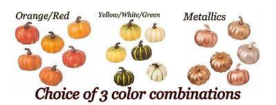 6 pc. ARTIFICIAL MINI PUMPKINS Asst FALL AUTUMN COLORS 4 HOME DECOR or CRAFTING ](4 Halloween Colors)