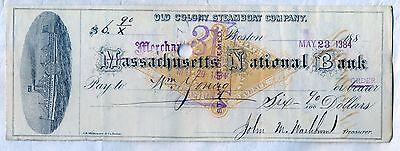 Old Colony Steamboat Company Check Merchants National Bank Boston Stock