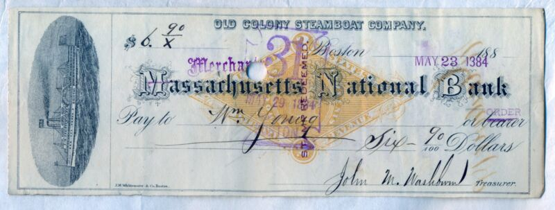 Old Colony Steamboat Company Check Merchants National Bank Boston Stock