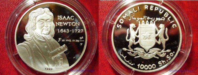 1999 Somalia Large Proof  Silver 10000 sh-Isaac Newton