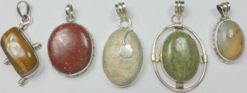 5 Vintage 925 Sterling Silver Jasper Agate Tiger Eye GemStone Pendants 62 Grams
