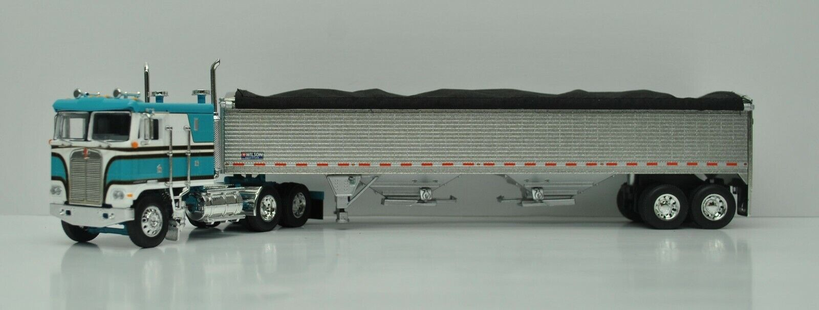 DCP FIRST GEAR 1/64 SCALE K-100 KENWORTH TEAL & WHITE  PETWER TALL SIDED GRAIN