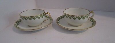 sse Cups & Saucers - White w/Green & Gold Shamrock Band (Shamrock-band)
