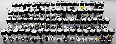 Set of 71 different pure periodic table element samples in glass vials