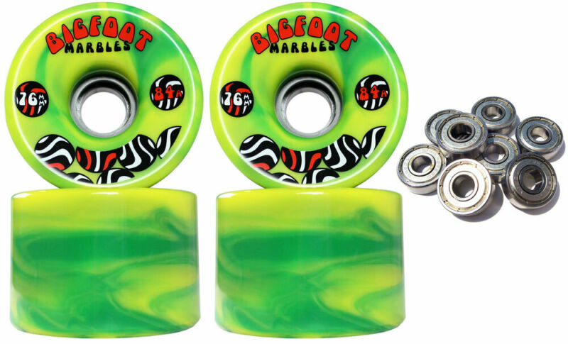 BIGFOOT SWIRL Longboard Wheels 76mm YELLOW / GREEN 84a