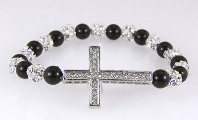 4030416 Christian Cross Stretch Bracelet Black Onyx Clear Crystal Sparkly Beads