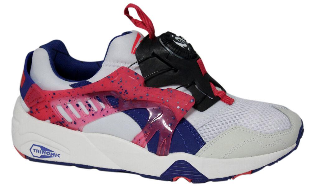 Details about Puma Trinomic Disc Blaze White Pink Blue Mens Trainers Slip On 358135 01 P1A