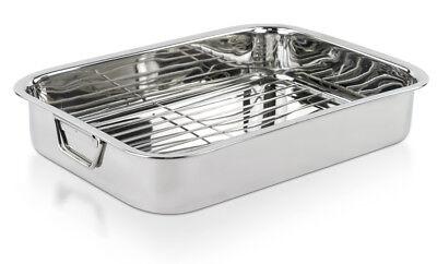 """Stainless Steel Roasting Pan -  16"""" Lasagna Turkey Roaster Pan With Rack"""