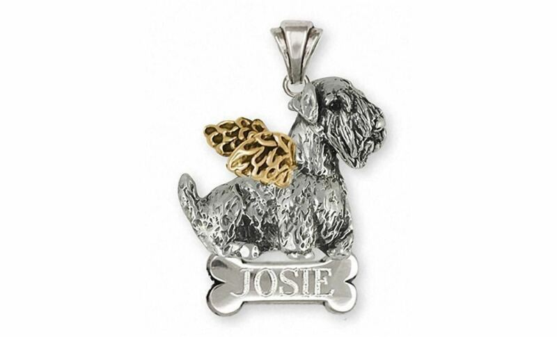 Sealyham Terrier Angel Pendant Jewelry Silver And 14k Gold Handmade Dog Pendant