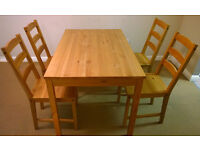 Dining table & 4 chairs natural wood, excellent condition, £90 o.n.o