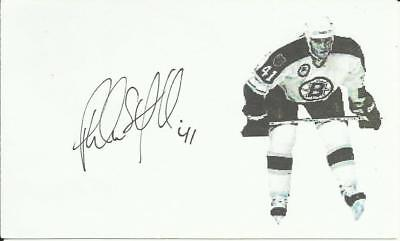 Phil Von Stefenelli Autographed Hockey Custom 3 X 5 Index Card W/COA Bruins
