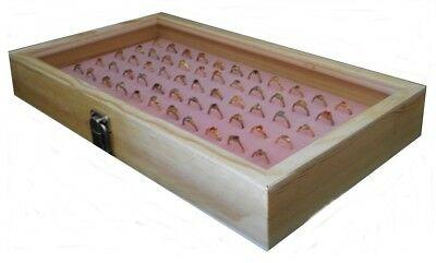 Natural Wood Glass Top Lid Pink 72 Ring Jewelry Display Storage Box Case
