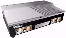 NEW Electric Griddle / Hotplate 73cm Flat / Grooved Commercial Stainless Steel Tansik