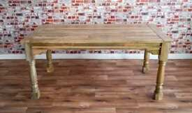 Extendable Rustic Farmhouse Dining Table Natural Hardwood Finish - Seats up to Twelve People