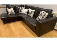 Dark Leather family corner sofa