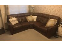 DFS Brown leather corner sofa and electric reclining chair