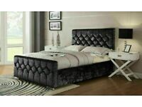 🎆💖🎆CASH ON DELIVERY🎆💖🎆 CHESTERFIELD BED CRUSHED VELVET DOUBLE BED WITH MATTRESS OPTIONS