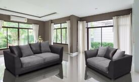 💖🔥SUPERB GREY BLACK OR BROWN BEIGE🔥❤New Jumbo Cord Double Padded Byron Corner Or 3+2 Leather Sofa