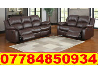 HIGH BACK LEATHER RECLINER 3+2 SOFA BROWN 7