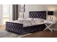 NEW DESIGNER CHESTERFIELD CRUSHED VELVET BED FRAME SILVER,BLACK & CREAM COLOR WITH SAME DAY DELIVERY