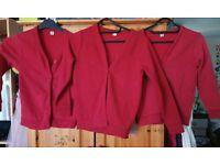 3 x red TU school cardigans age 8-9