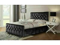 🎆💖🎆UPTO 50% OFF🎆💖🎆 CHESTERFIELD BED CRUSHED VELVET DOUBLE BED WITH MATTRESS OPTIONS