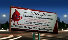 Mobile Blood Taker.(Phlebotomist) NHS TRAINED. £10 a home visit.