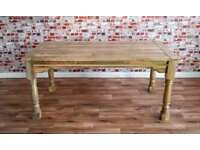 Extendable Rustic Farmhouse Dining Table Natural Hardwood Finish Seats up to Twelve People